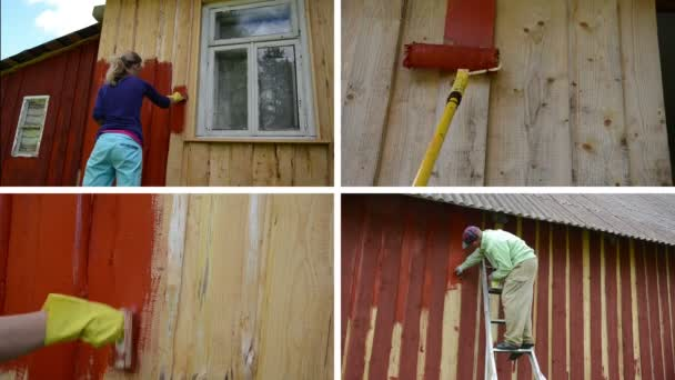 Woman and man on ladder paint wooden house. Video collage