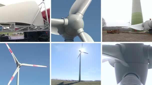 Větrná turbína dílů a montážních prací. Klip koláž.