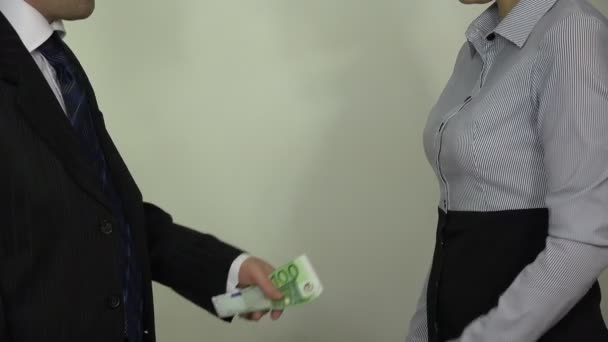 boss pay euro cash money banknotes for woman and handshake. 4K