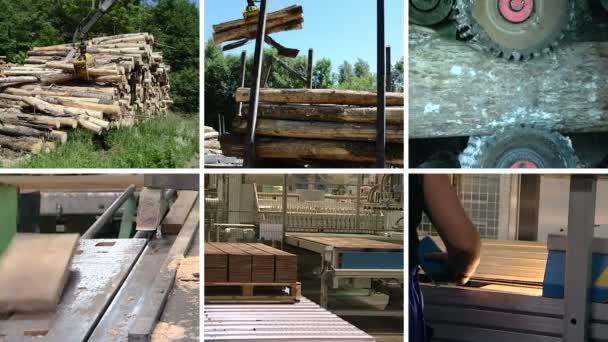 Wood transportation. Floor parquet production. Clips collage