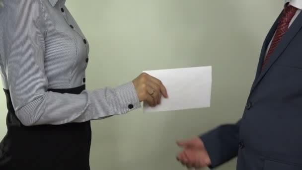 Illegal payment for works. Hand give money in envelope. 4K