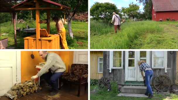 People work various garden jobs in rural farm. Video collage