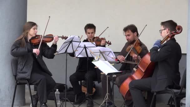 Musiker spielen Klassik mit Violoncello und Violine. 4k