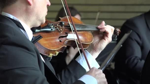 Nahaufnahme eines Mannes Musiker Handspiel mit Geige im Orchester