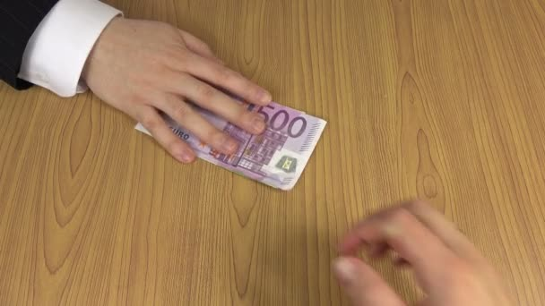 man hand give bunch of euro cash banknotes bribe for woman. 4K