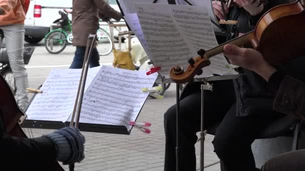 Nahaufnahme der Musiker spielen, Viola und Violoncello von Blatt. 4k