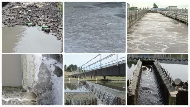 Müllflaschen fließen in verschmutztes Wasser. Blubbernder Abschaum. Wasserwerk