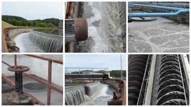 Sewage waste water clean plant. Waterwork. Clips collage