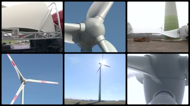 Wind turbine parts and assembly works. Windmills spin. Collage.