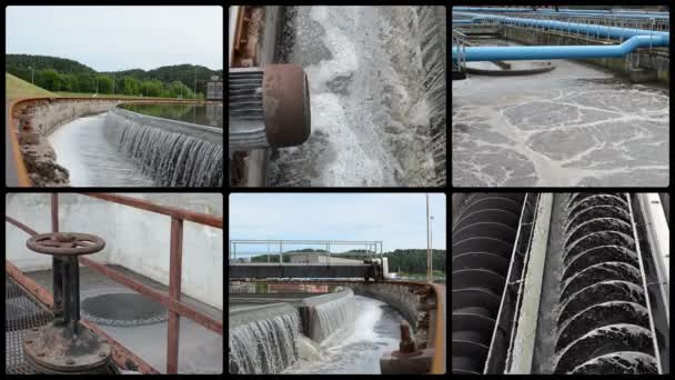 Kläranlage. Wasserwerk. Clips-Collage