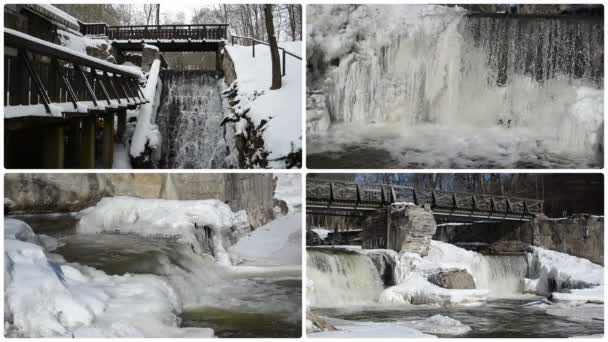 potok vodopád cascade retro most zmrazené LED rampouchy zimní