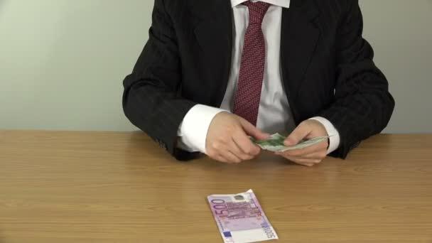 salesman hands count money cash euro banknotes. 4K