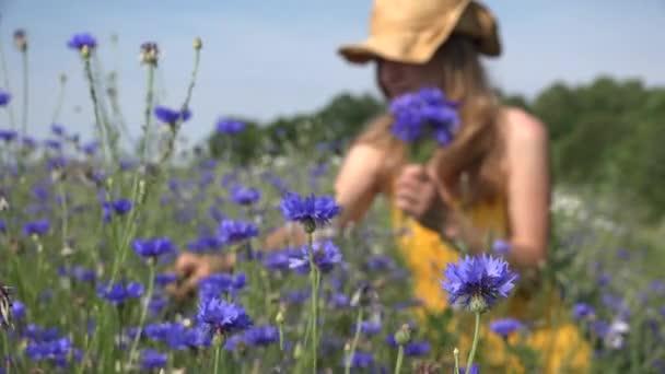 beautiful woman in yellow dress pick blue flowers bouquet. 4K