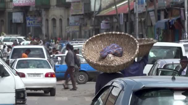 Busy street market in African city, Addis Ababa, Ethiopia