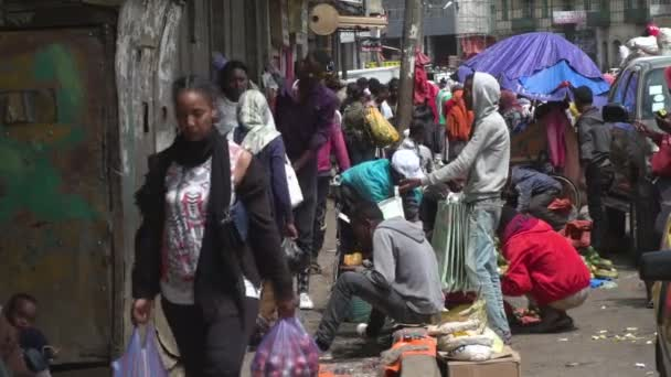 Busy streets and traders in a North African city, Addis Ababa, Ethiopia