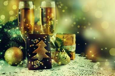 Christmas Champagne Wine Background