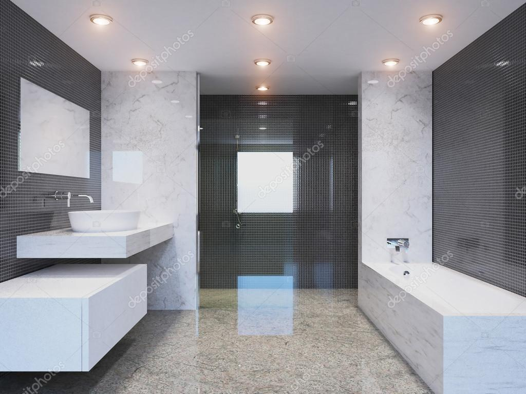 De moderne badkamer d rendering in een groot huis u stockfoto