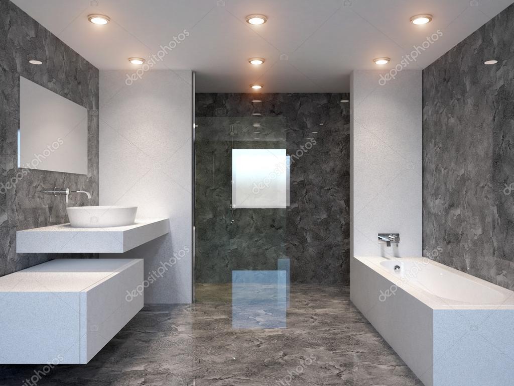 rendu 3D salle de bains moderne dans une grande maison ...