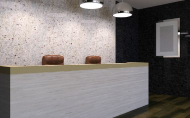 Business center. Receptionist. 3D rendering
