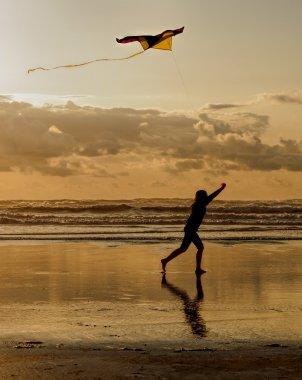 Fun with a kite at sunset.