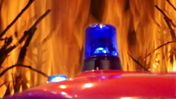 Blikající modré světlo siréna požární pozadí