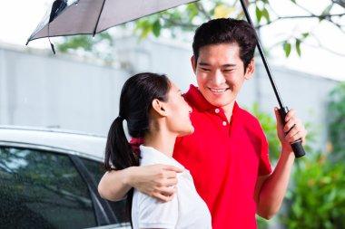 couple walking with umbrella through rain