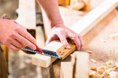 Carpenter with workpiece in carpentry