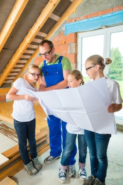Familiy viewing home contruction site