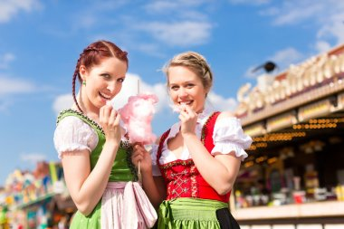 Women in traditional Bavarian clothes on festival