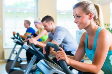 Group in gym spinning on sport bicycle