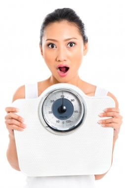 Asian woman with weight scale losing weight