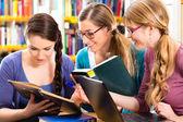 Studenti v knihovně jsou skupinou učení