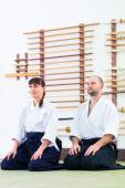 Fotografie Teacher and student at Aikido martial arts school