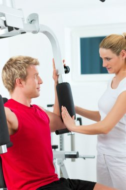 Patient at the physiotherapy doing physical therapy