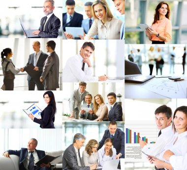 Business people in various situations connected with trainings, presentations, negotiations and teamwork