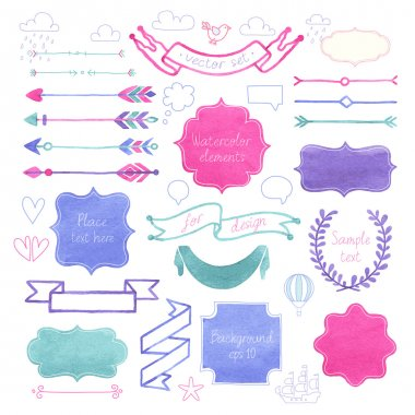 Vector Watercolor design elements. clip art vector