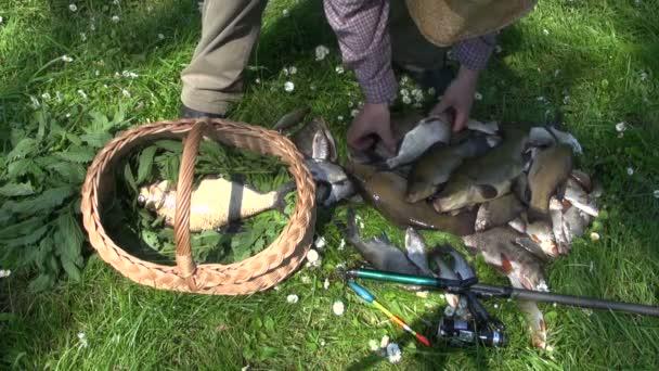 Muž uvedení čerstvě ulovených ryb v proutěném koši