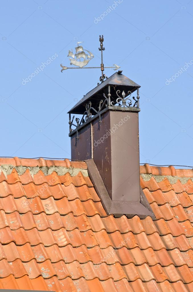 Decorative Chimney Smokestack On Tile Roof U2014 Stock Photo