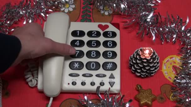 Calling Vintage Telephone With Christmas Decorations On Table