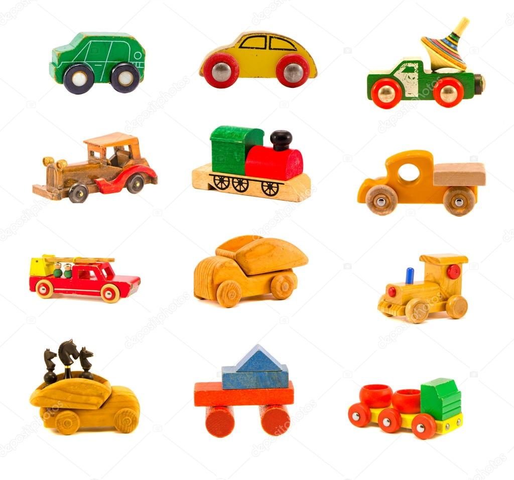 collection old wooden  car truck toys isolated on white