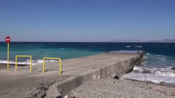 Seascape with dock in Greece, Rhodes