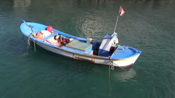 white and blue boat floating on water in sea