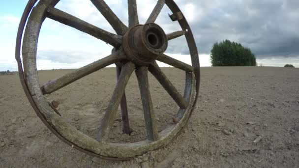 Rustic weathered wooden horse carriage wheel in the field, time lapse 4K