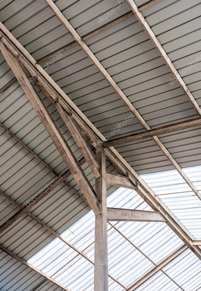 Steel frame of modern roof — Stock Photo © trainman32 #76449935