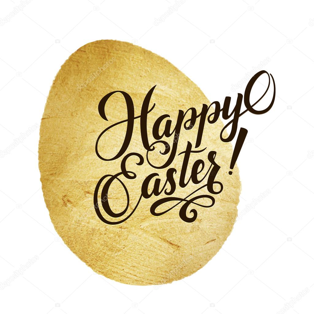 Gold Foil Calligraphy Happy Easter Greeting Card Modern Brush