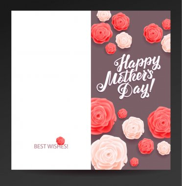 Happy Mothers Day. Beautiful Blooming Rose Flowers on Grey Background. Greeting Card Ready to Print