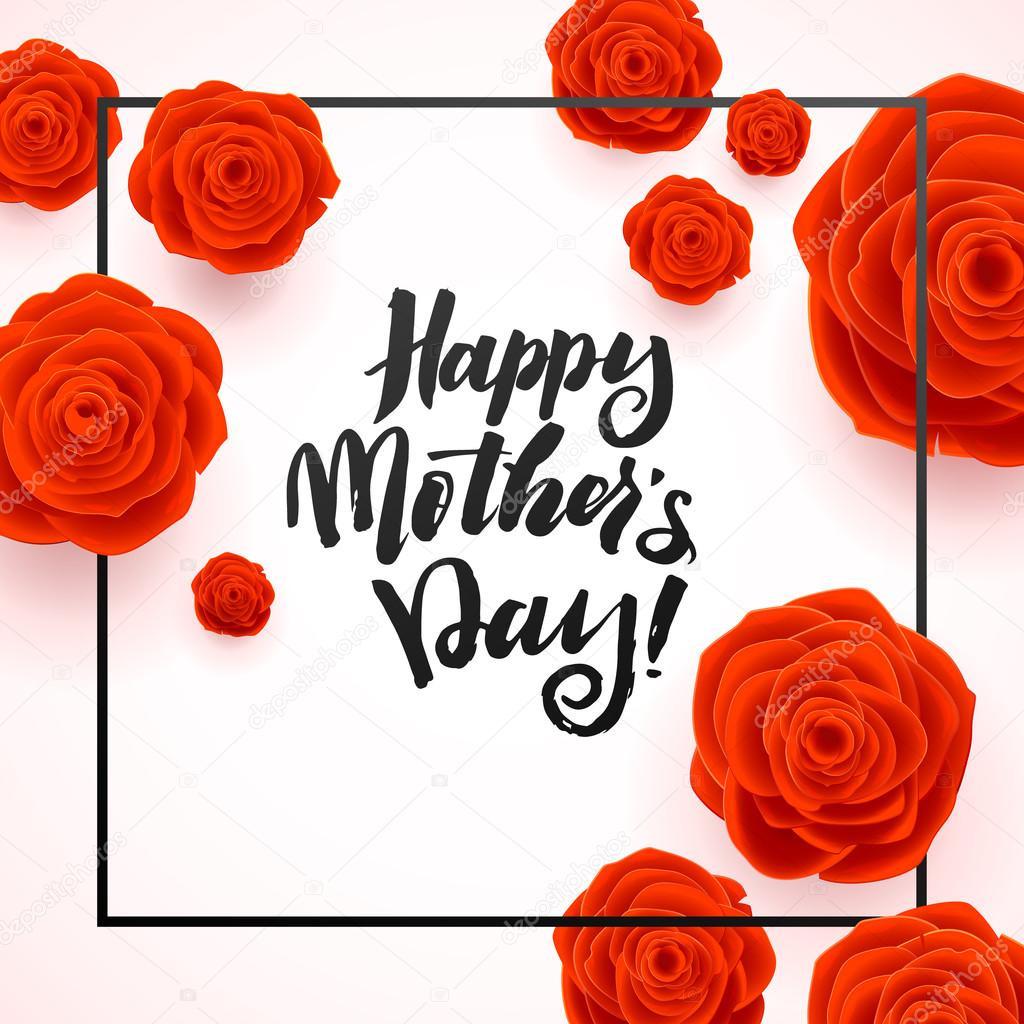 Happy Mothers Day Beautiful Blooming Red Rose Flowers on White Background. Greeting Card
