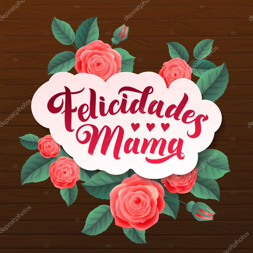 grattis spanska Glad mors dag. Grattis till mamma på spanska. Modern rose vektor  grattis spanska
