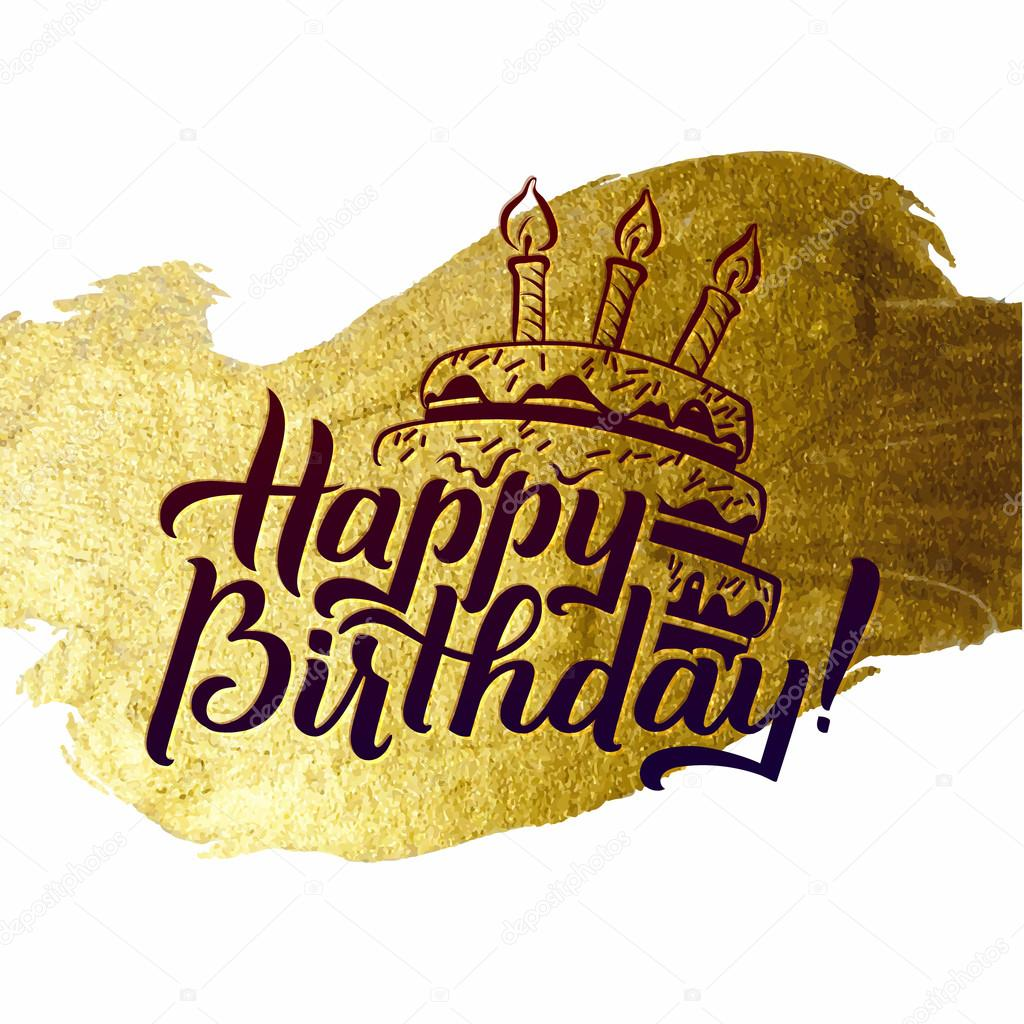 Happy Birthday Greeting Card Gold Calligraphic Poster With Candles