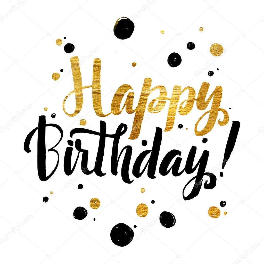 Feliz cumpleaños oro papel caligráfico mensaje. Grunge cartel tem ...
